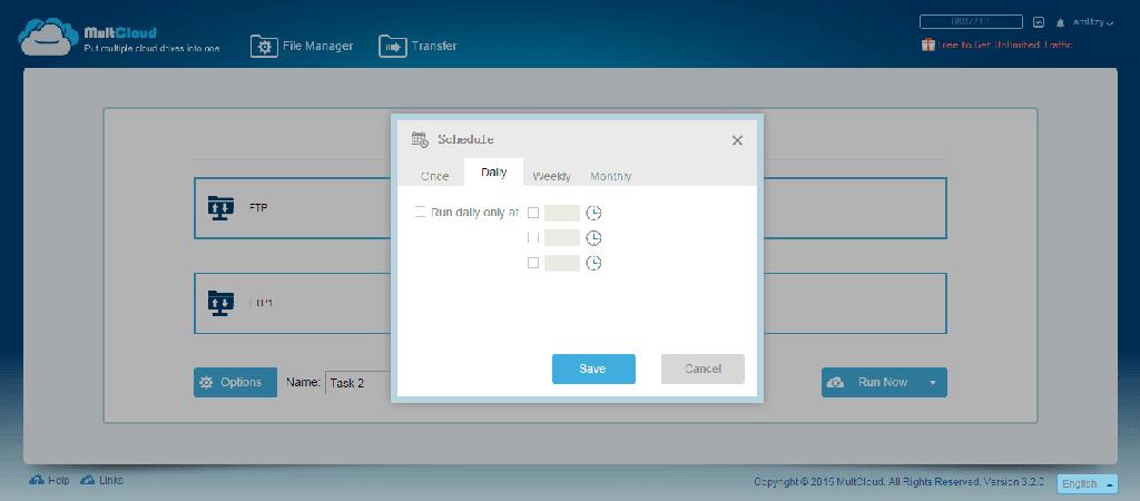 MultCloud schedule transfer step 1